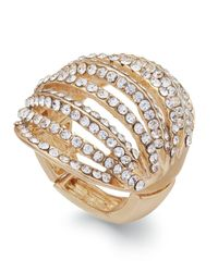 INC International Concepts | Metallic Gold-tone Crystal Pavé Multi-row Stretch Ring | Lyst