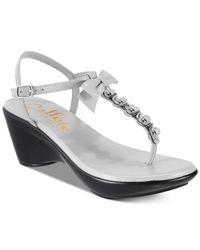 Callisto - Gray Laureen Platform Wedge Sandals - Lyst