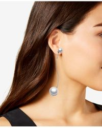 INC International Concepts - Metallic Silver-tone Chain & Bead Mismatch Drop Earrings, Created For Macy's - Lyst