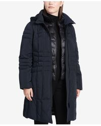 Calvin Klein - Blue Plus Size Hooded Layered Down Coat - Lyst