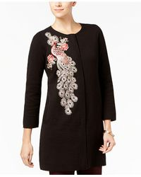 Alfani - Black Embellished Sweater Coat - Lyst