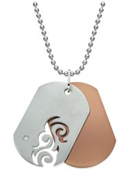 Macy's Gray Men's Diamond Accent Cutout Dog Tag Necklace In Stainless Steel for men