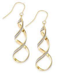 Macy's   Metallic Glitter Twist Drop Earrings In 14k Gold   Lyst