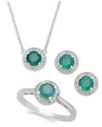 Macy's - Green Emerald (2 Ct. T.w.) And White Topaz (1/2 Ct. T.w.) Jewelry Set In Sterling Silver - Lyst