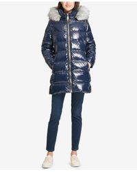 DKNY Blue Faux-fur-trim Puffer Coat