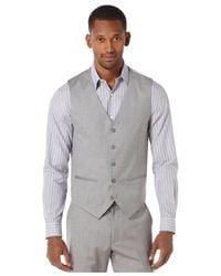 Perry Ellis Metallic Big And Tall Textured Linen-blend Vest for men