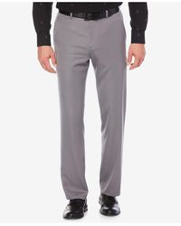 Perry Ellis Gray Straight-fit Performance Dress Pants for men