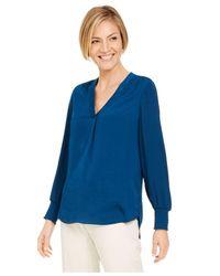 Alfani Blue V-neck Top, Created For Macy
