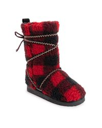 Muk Luks Red Reyna Furry Boots