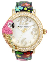 Betsey Johnson Metallic Women's Parrot Gold-tone Floral Leather Strap Watch 44mm
