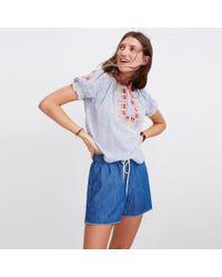 Madewell Blue Chambray Raw-hem Pull-on Shorts