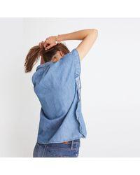 Madewell Blue Indigo Ruffle-side Shirt