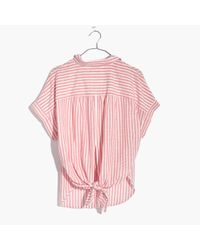 Madewell Multicolor Central Tie-back Shirt In Rose Stripe