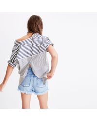 Madewell Blue Courier Button-back Shirt In Stripe Mix