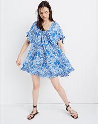 MW Blue Natalie Martin Silk Marina Mini Dress In Wing Print