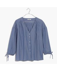 Madewell Blue Morningview Tie-sleeve Shirt In Stripe
