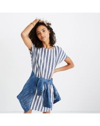 Madewell - Blue Stripe-play Button-back Tee Dress - Lyst