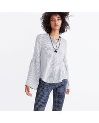 Madewell - Multicolor Bell-sleeve Button-down Shirt In Windowpane - Lyst