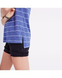 Madewell Blue Choral Split-neck Tee In Gornick Stripe