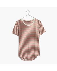 Madewell Multicolor Whisper Cotton Crewneck Tee In Quincy Stripe