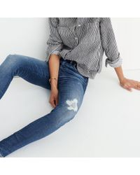 """Madewell - Blue Taller 9"""" High-rise Skinny Jeans In Allegra Wash: Rip And Repair Edition - Lyst"""