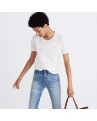 Madewell White Embroidered Peace Sign Whisper Cotton Crewneck Tee