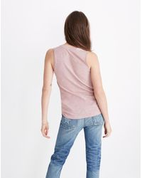 Madewell Pink Whisper Cotton V-neck Pocket Tank