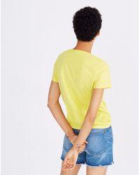 Madewell Yellow Palm Embroidered Boxy Tee
