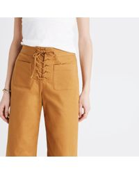 Madewell Multicolor Lace-up Wide-leg Crop Pants
