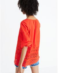 Madewell - Red Eyelet Lattice Top - Lyst