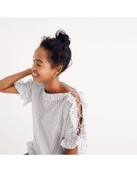 Madewell Multicolor Ruffled Lace-up Top In Stripe