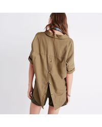 Madewell Brown Courier Button-back Shirt In Light Latte