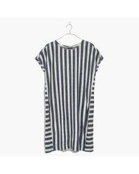 Madewell - Blue Stripe-play Button-back Tee Dress - Lyst