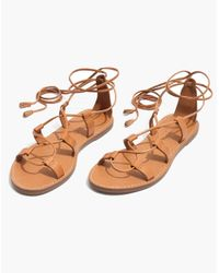 Madewell Multicolor The Boardwalk Lace-up Sandal In Suede