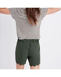 Madewell Green Scallop-hem Pull-on Shorts