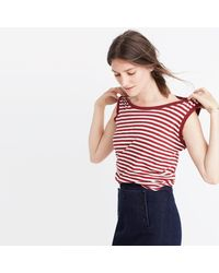 Madewell - Red Whisper Cotton Crewneck Muscle Tank In Fenwick Stripe - Lyst