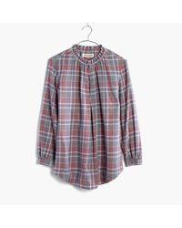 Madewell   Purple Rivet & Thread Gathered-collar Shirt In Avery Plaid   Lyst