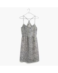 Madewell | Blue Silk Sunlight Cami Dress In Painted Feathers | Lyst