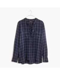 Madewell   Multicolor Silk Lace-up Shirt In Windowpane Plaid   Lyst