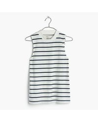 Madewell | White Tune Mockneck Tank Top In Harmon Stripe | Lyst