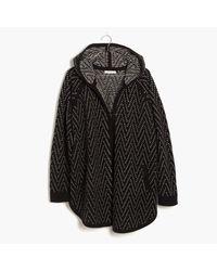 Madewell   Black Hooded Herringbone Cardigan Sweater   Lyst