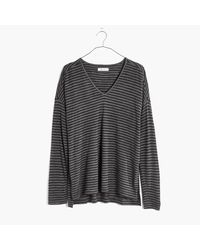 Madewell | Multicolor Anthem Long-sleeve V-neck Tee In Stripe | Lyst