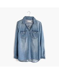 Madewell | Blue Denim Lace-up Shirt In Chester Wash | Lyst