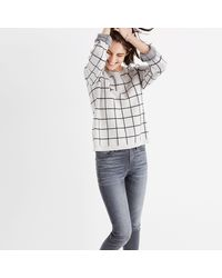 Madewell Multicolor Laced-back Pullover Sweater In Windowpane Jacquard