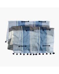 Madewell Blue Fringe-stripe Indigo Scarf