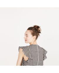 Madewell Black Gingham Ruffle Dress