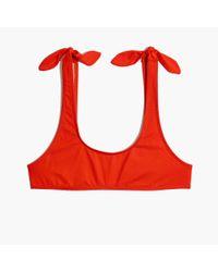 Madewell Red J.crew Playa Nantucket Tie-shoulder Bikini Top
