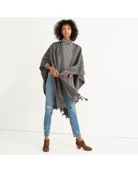 Madewell Gray Striped Poncho Scarf