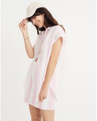 Madewell Pink Central Tunic Shirt In Cara Stripe