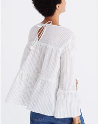 Madewell White Tiered Top In Haysboro Stripe